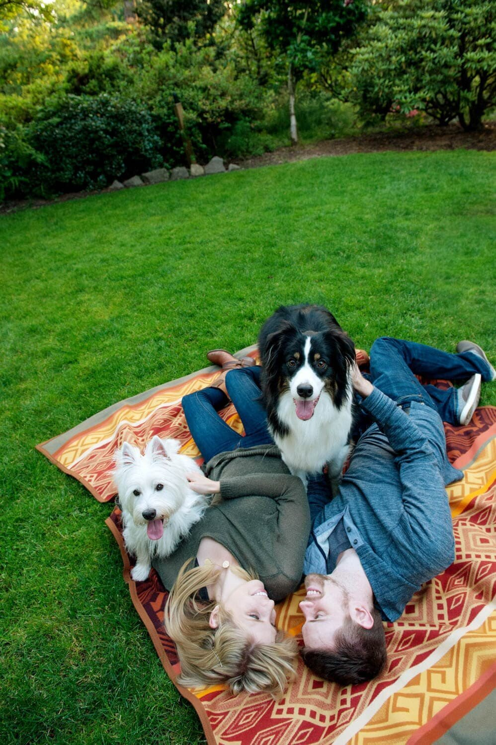 an engaged couple lay on a colorful blanket with their two dogs during their engagement session