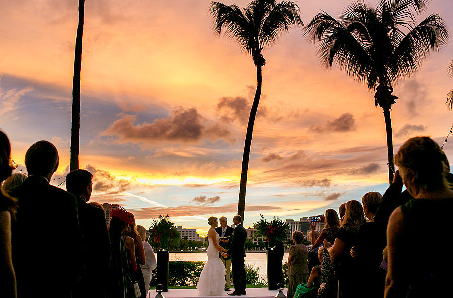 flagler museum wedding at sunset