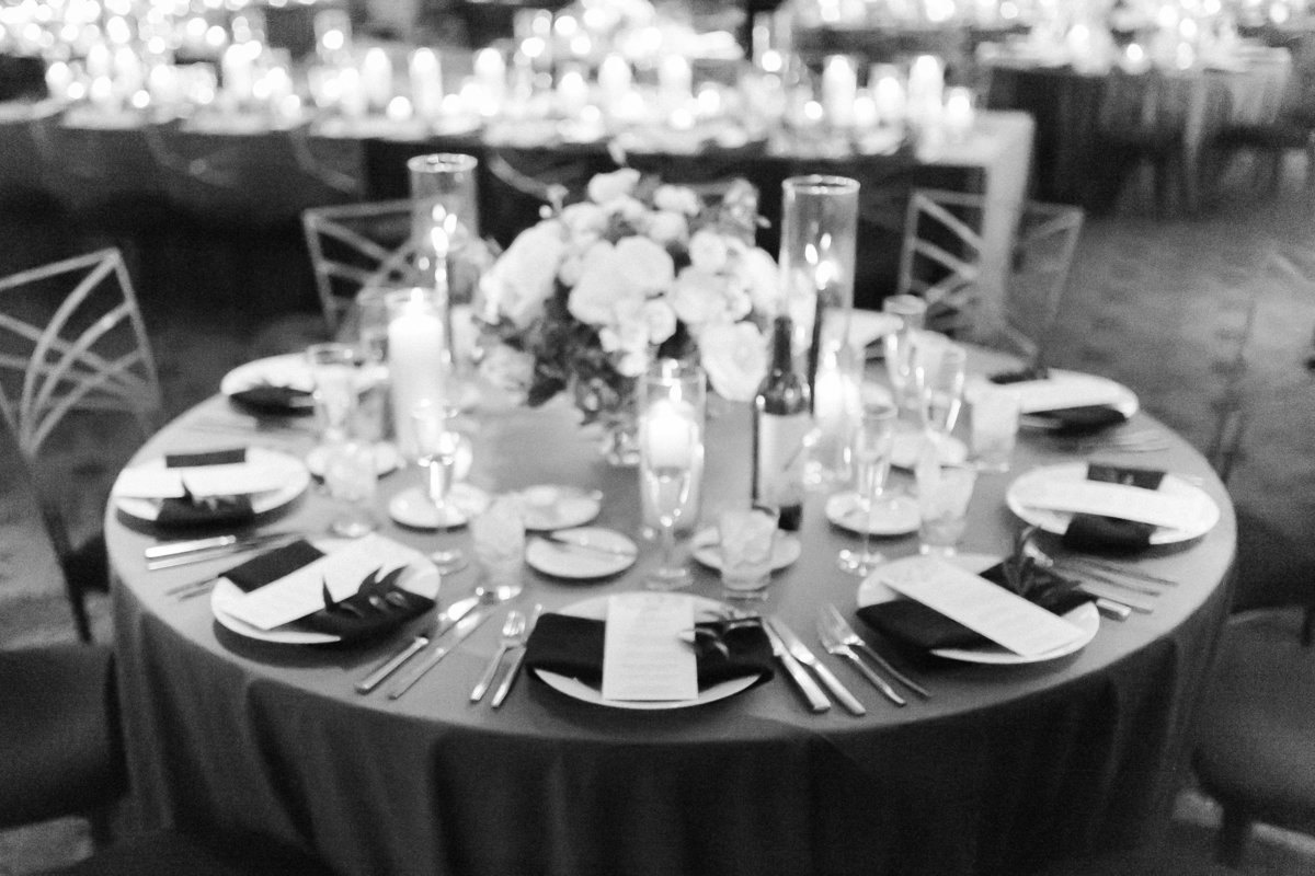 grey velvet linen with candles at Red Rock Country Club