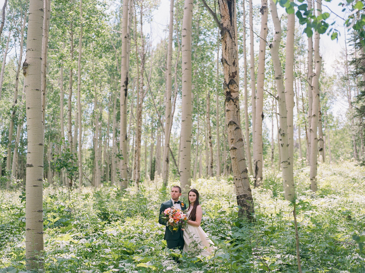Bride and groom in aspen grove of crested butte colorado