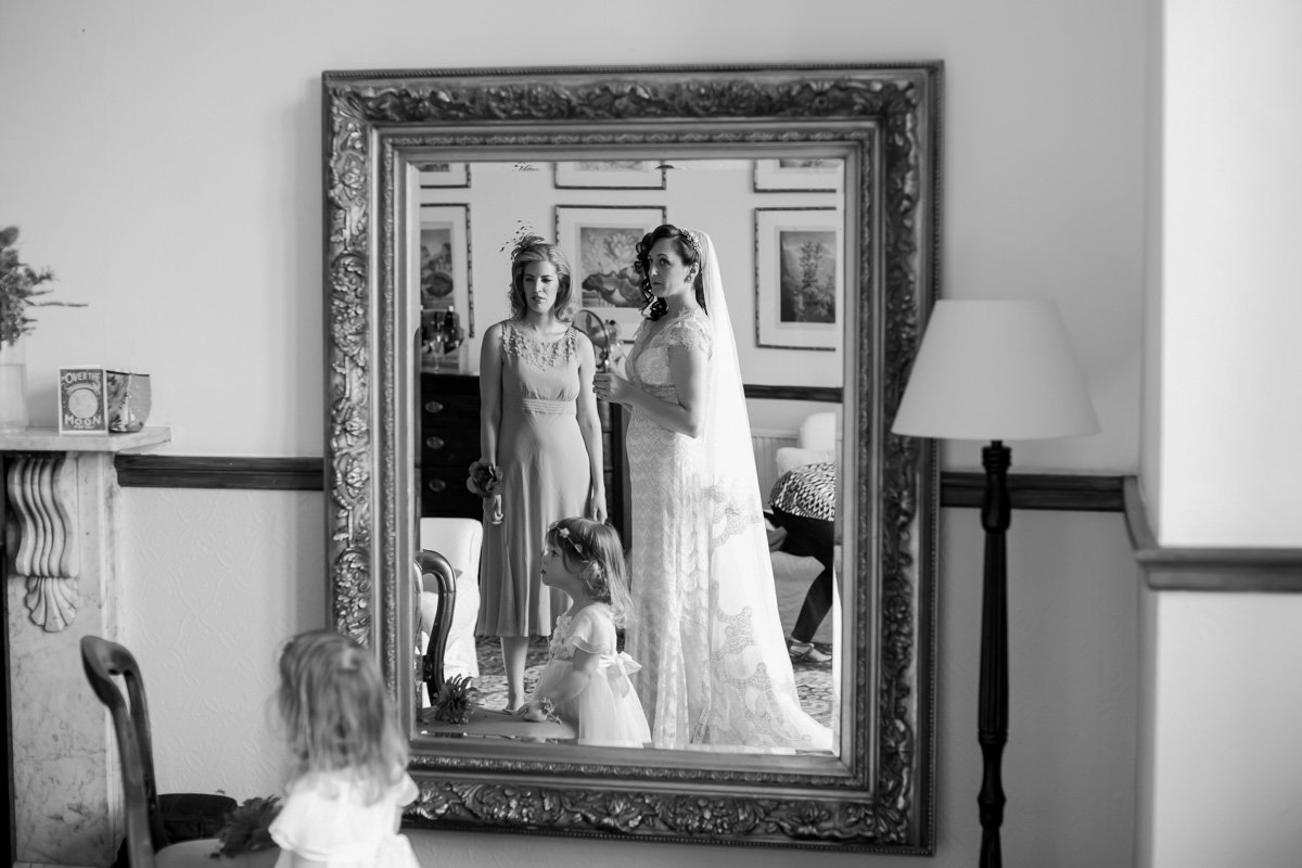 Bride in Mirror at Huntsham Court