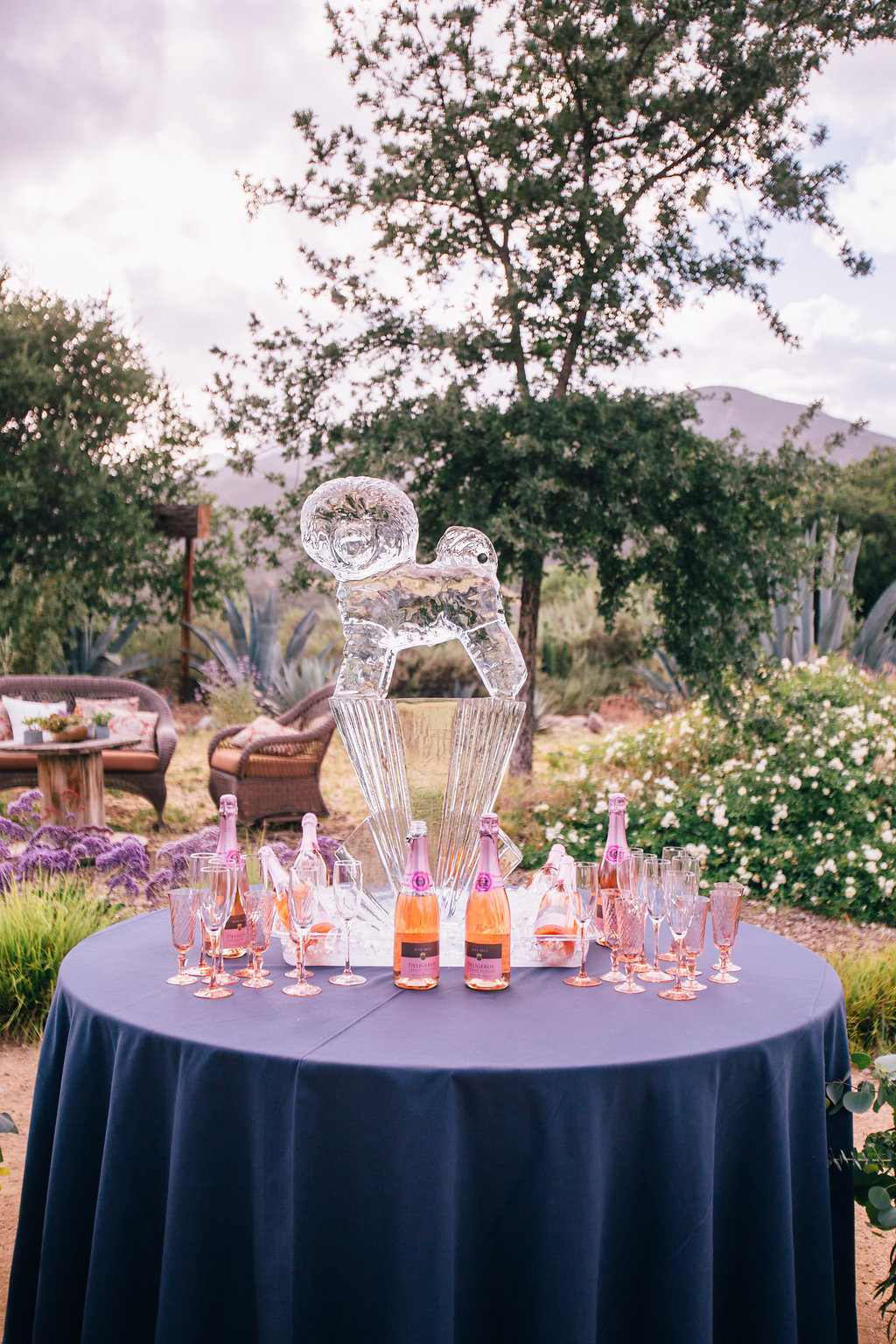 desert wedding reception dog ice sculpture at wedding welcome table in Ojai