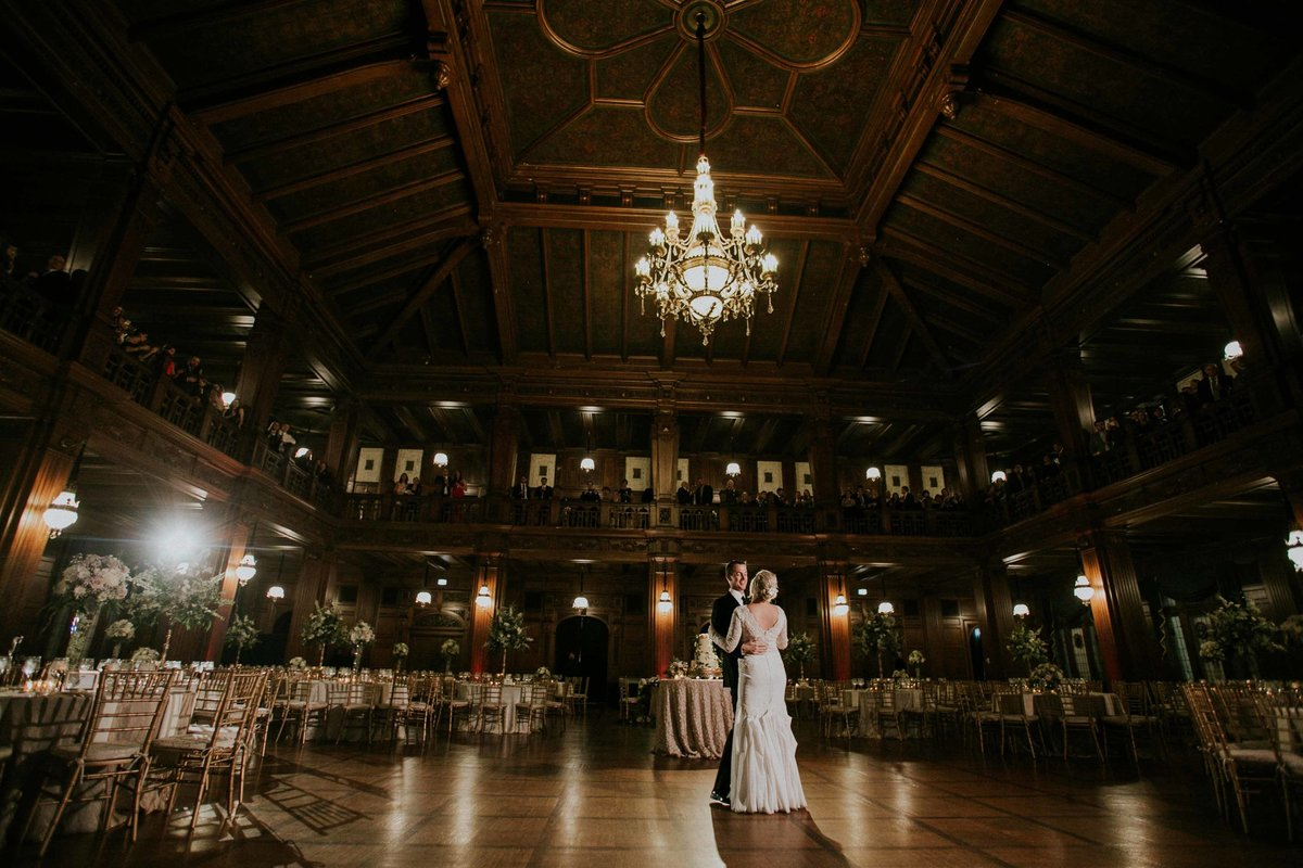 First dance inside scottish rite cathedral wedding