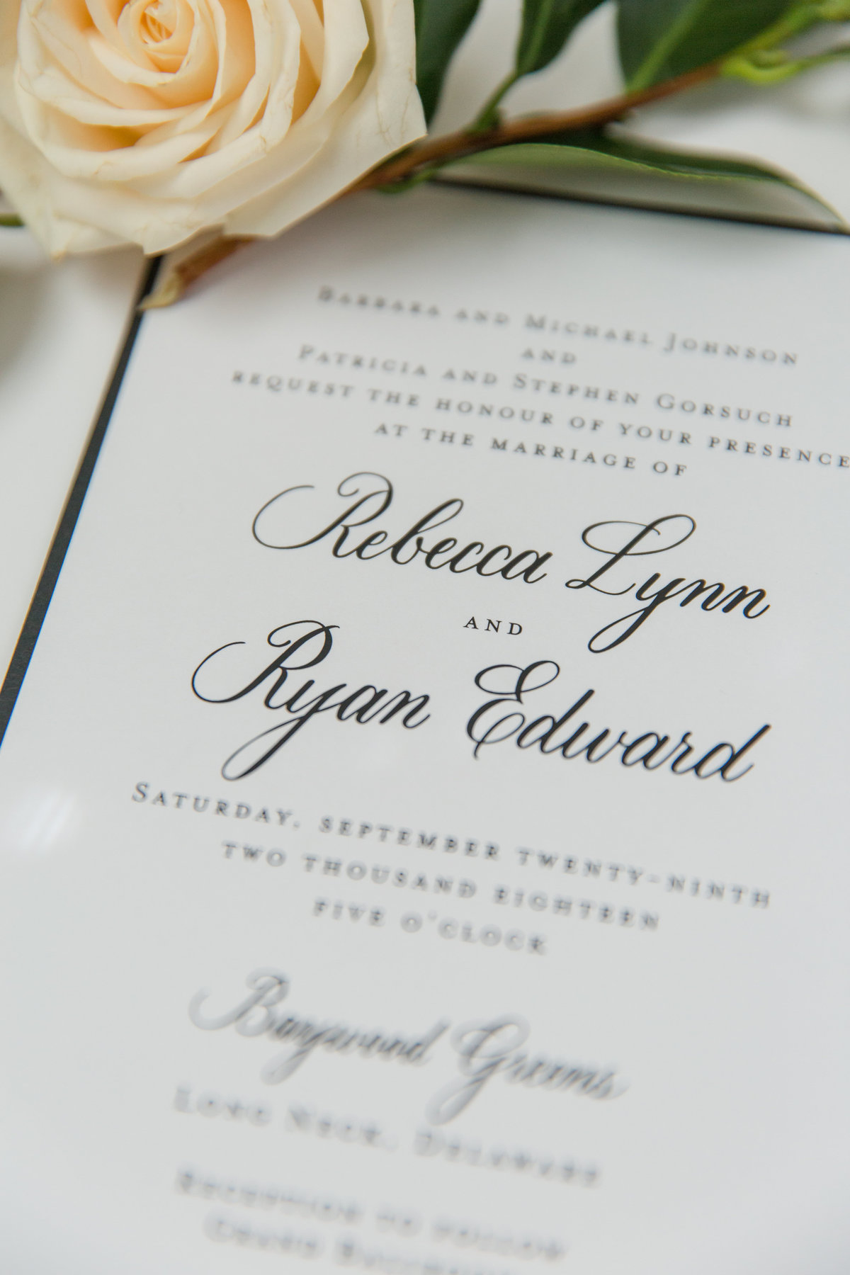 Calligraphy wedding invitations with grey ink