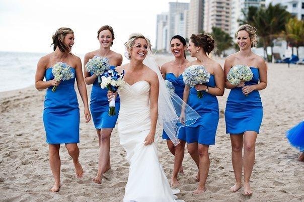 blue hydrangeas beach wedding