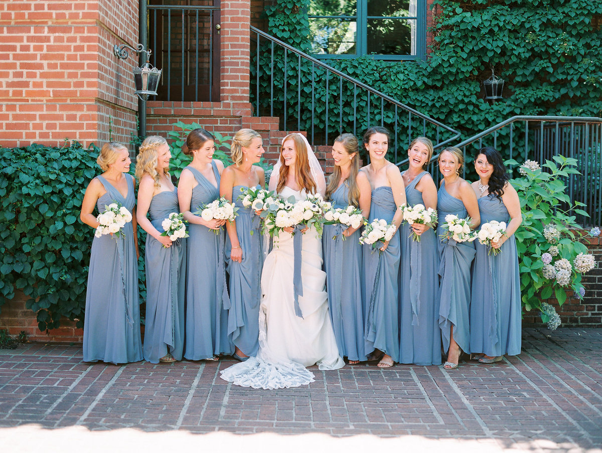 bride and bridesmaid at the town club in portland, oregon
