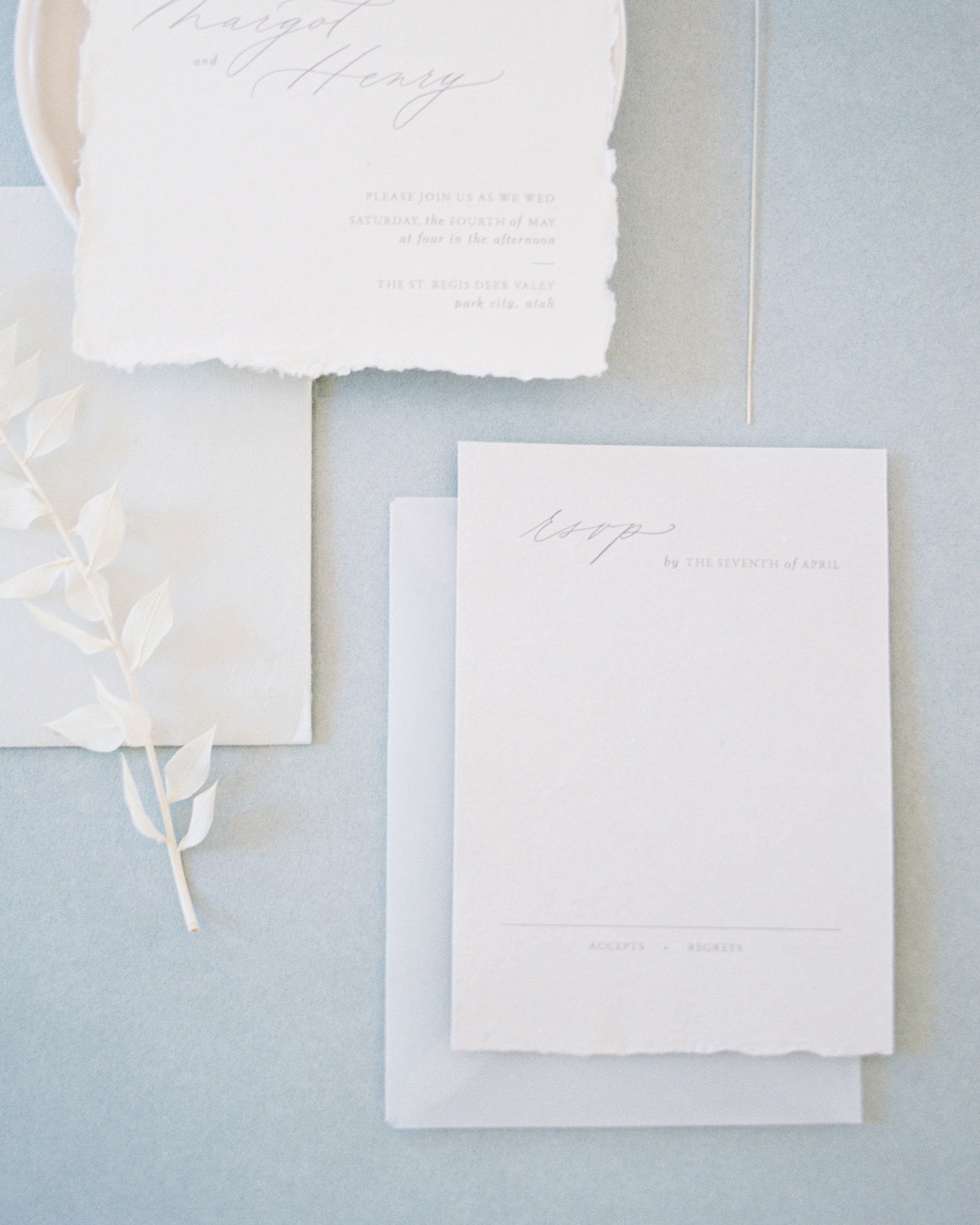 Dominique Alba Minimalist wedding invitation collection rsvp card