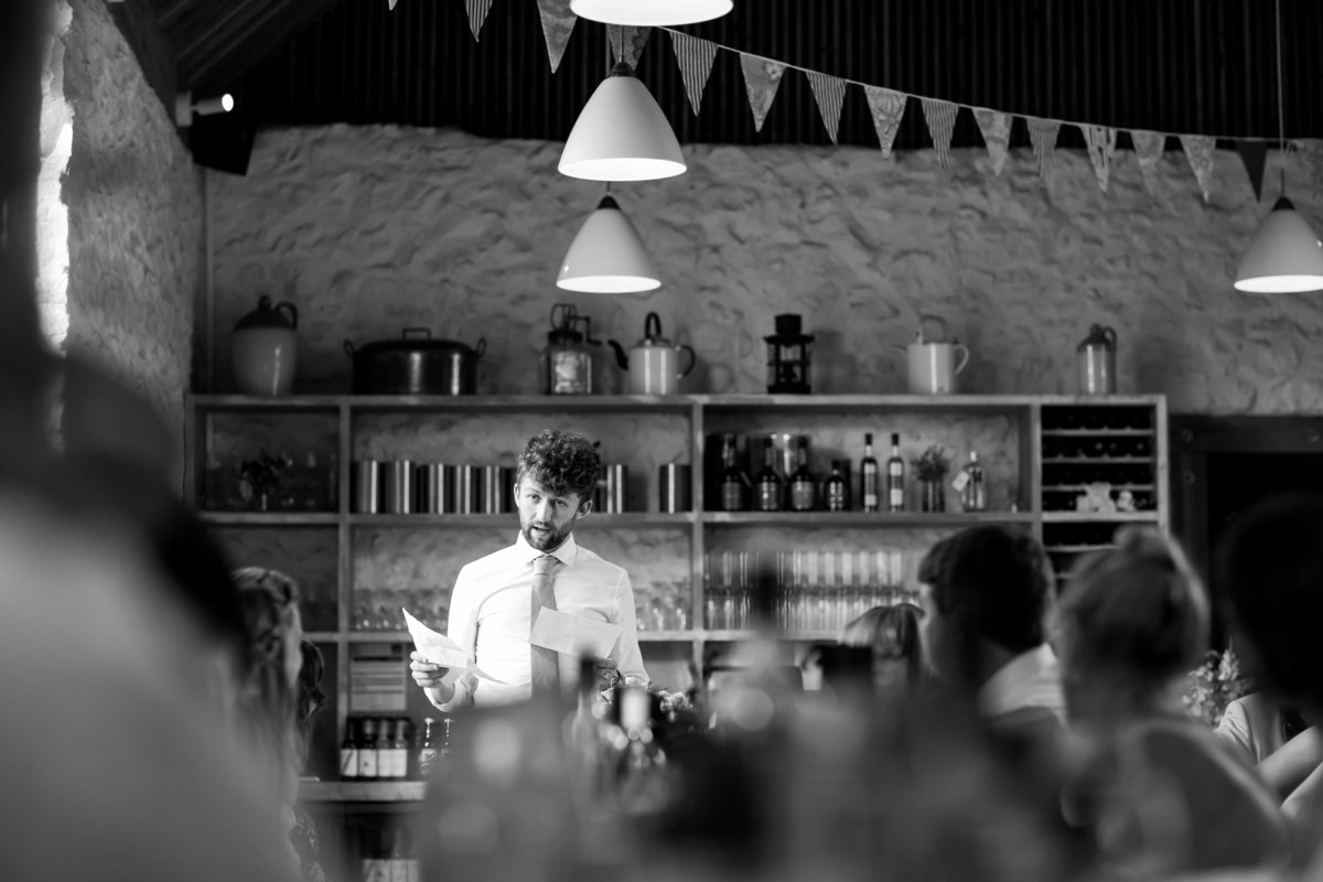 wedding photography of speeches at river cottage