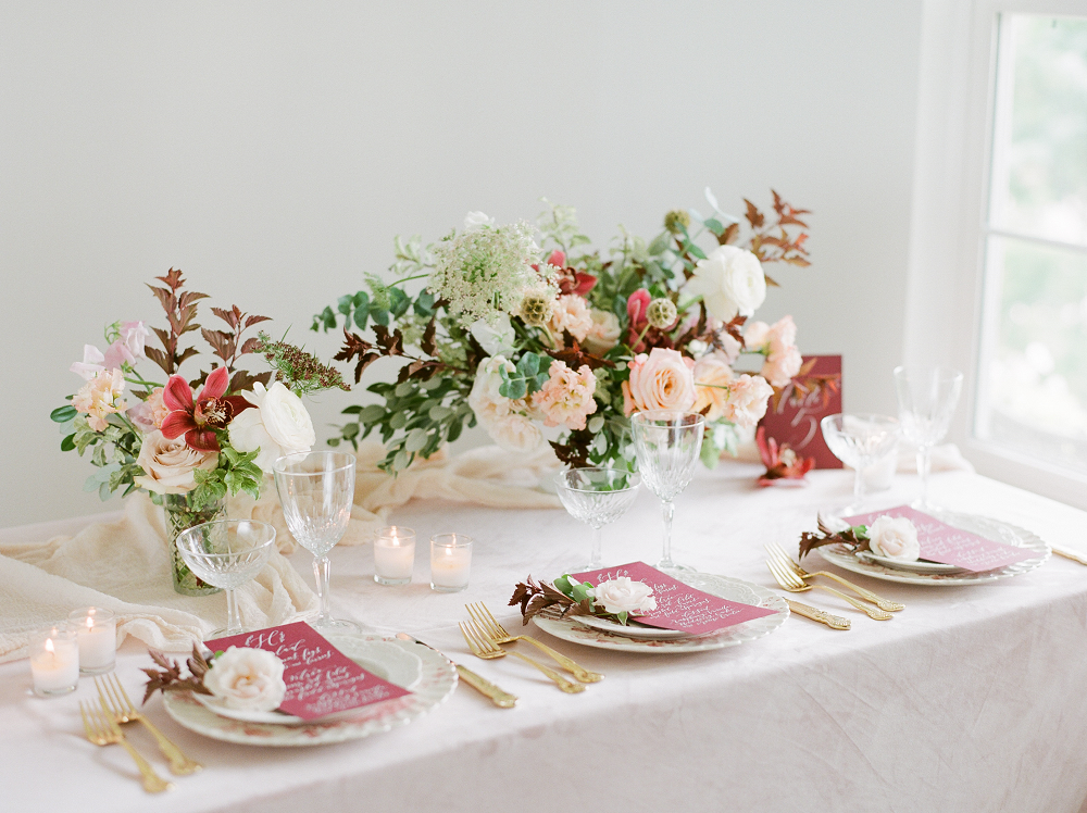 Burgundy and Blush Wedding Inspiration Styled Shoot Table Setting