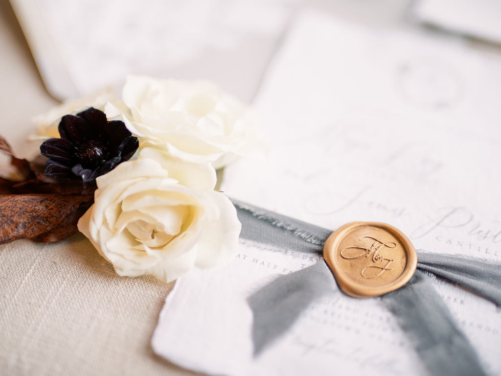 wedding invitation with wax seal