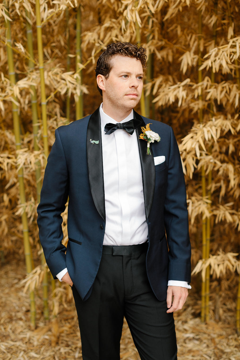 man in blue tuxedo bow tie in front of golden plants groom