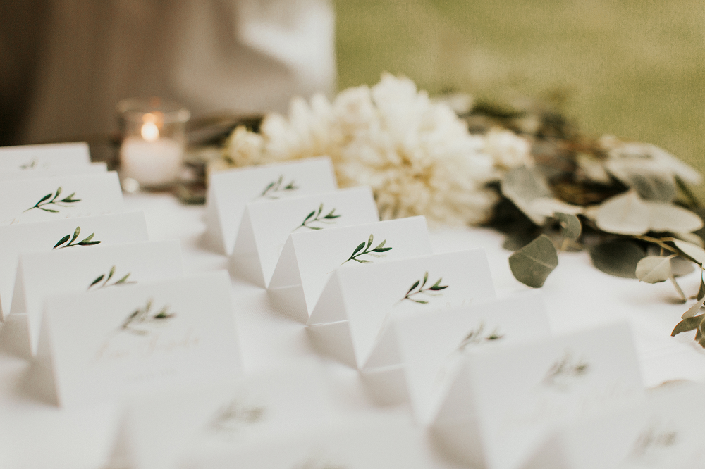 Rustic Farm Wedding Place Cards and Flowers