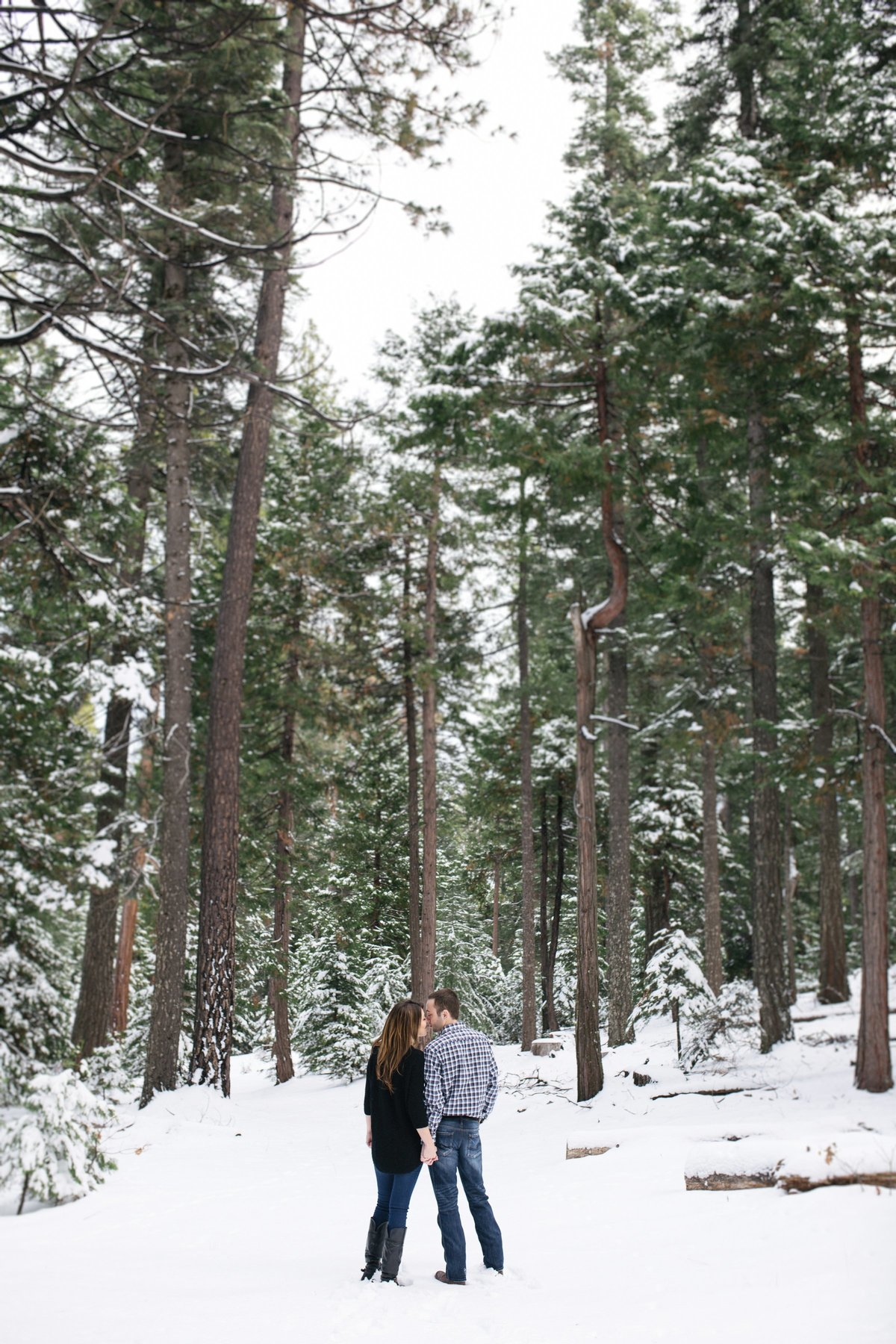 Engagement session in snow Lake Tahoe, Ca