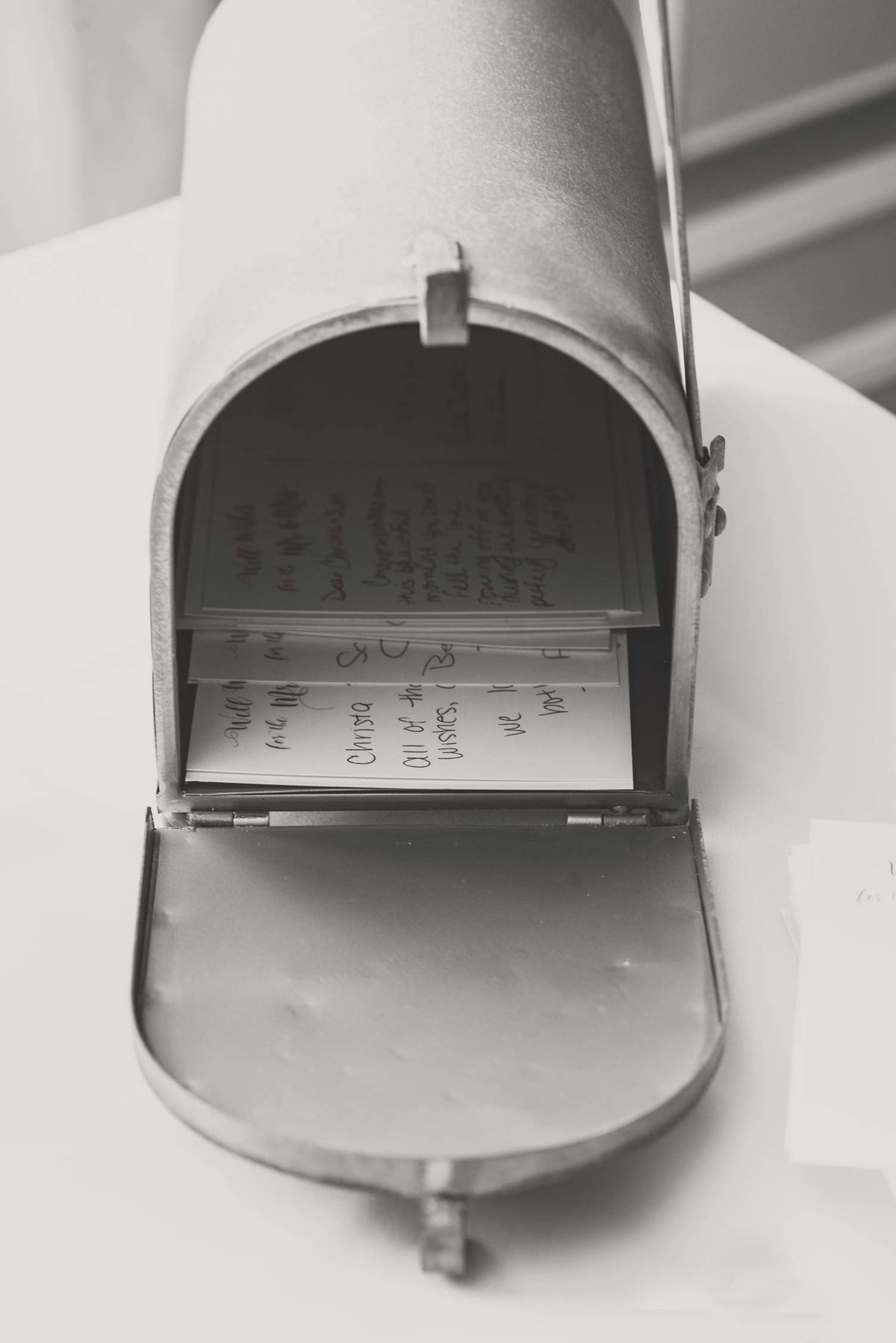 Mailbox for postcards for bride and groom at Flowerfield