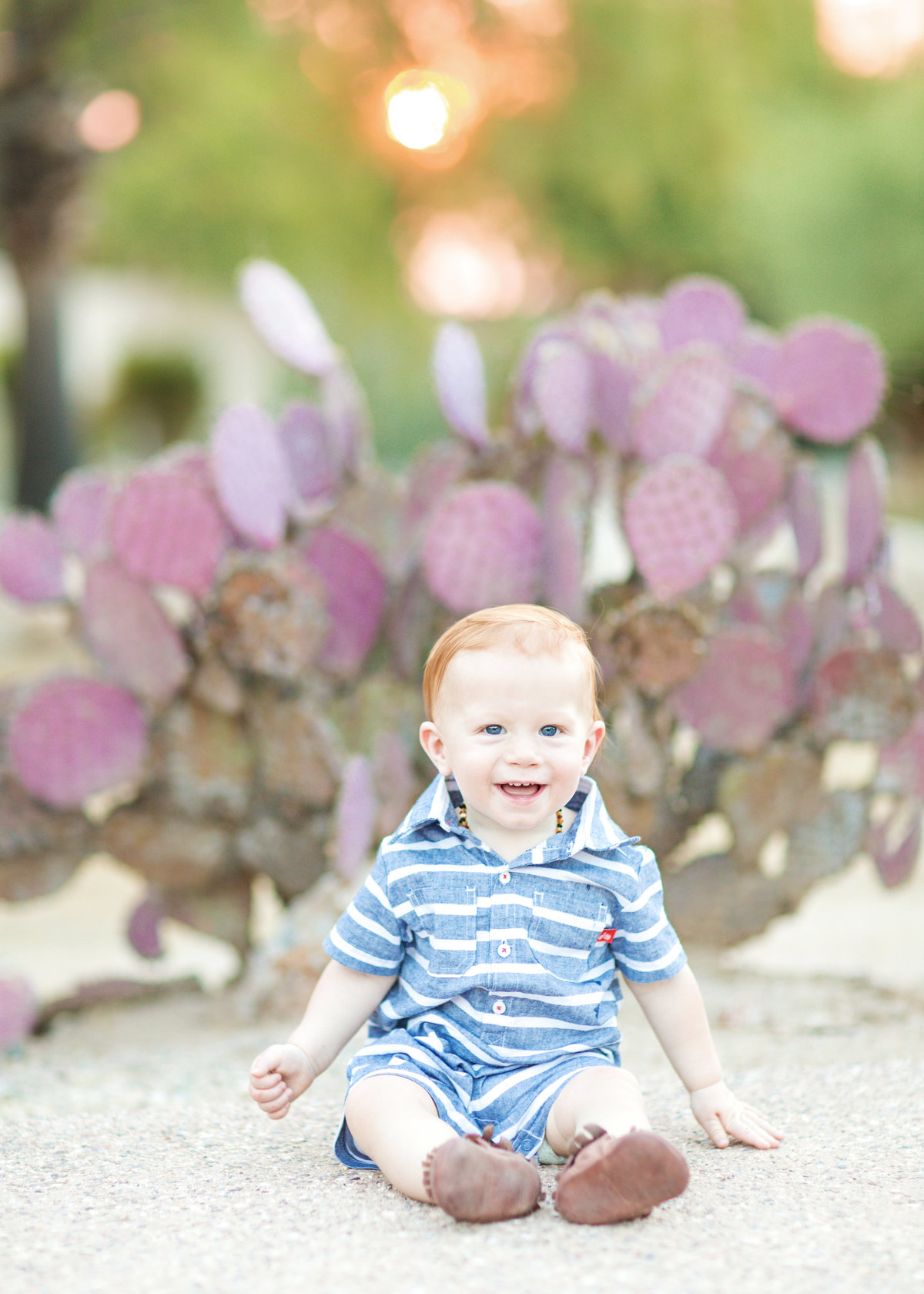 Toddler in a stiped blue romper sitting in front of prickly pear cactus