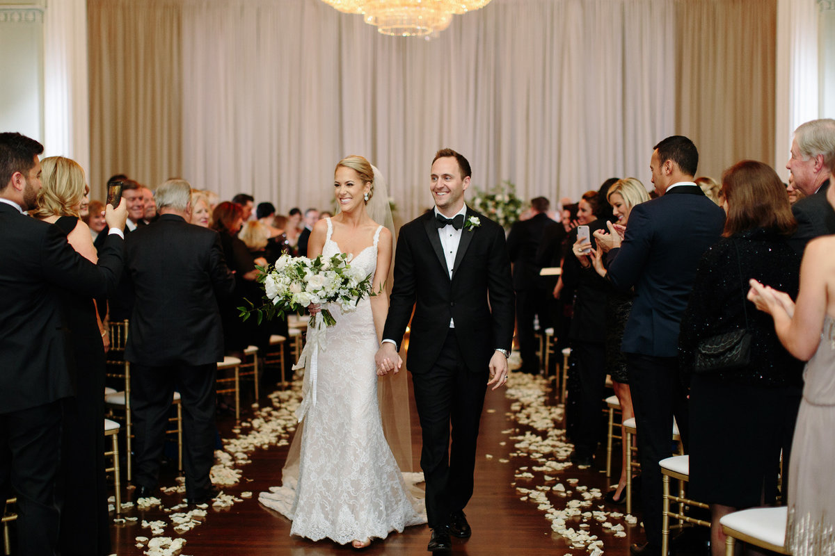Wedding recessional at the Georgian Ballroom.  Real wedding moment captured by Rebecca Cerasani.
