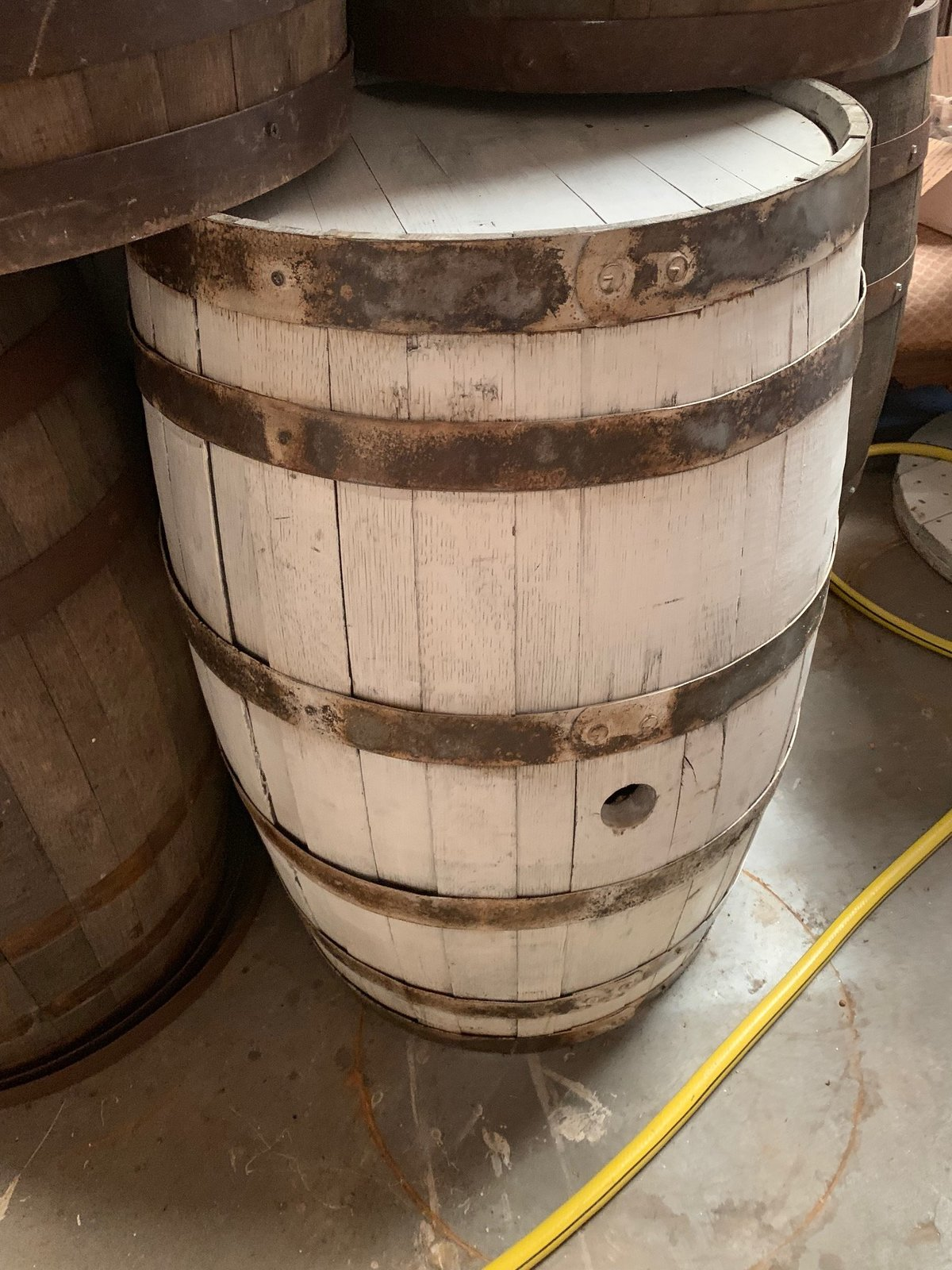 white whiskey barrel