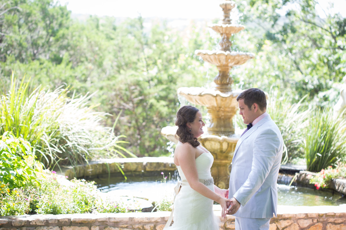 Nature's Point, Austin Family Photographer, Tiffany Chapman Photography bride and groom first look in the garden photo