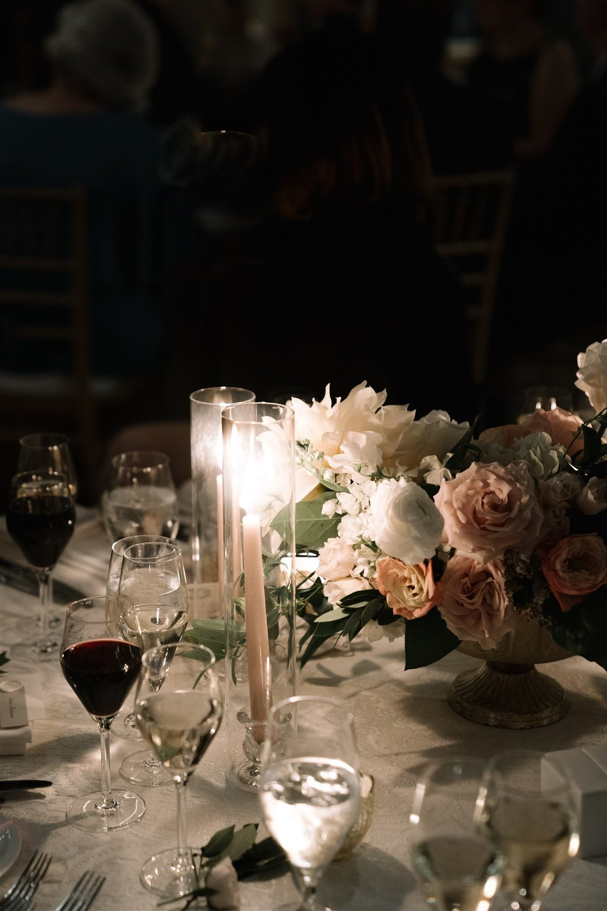 Moody reception color palette for a Cape Cod Wedding by luxury Cape Cod wedding planner and designer Always Yours Events