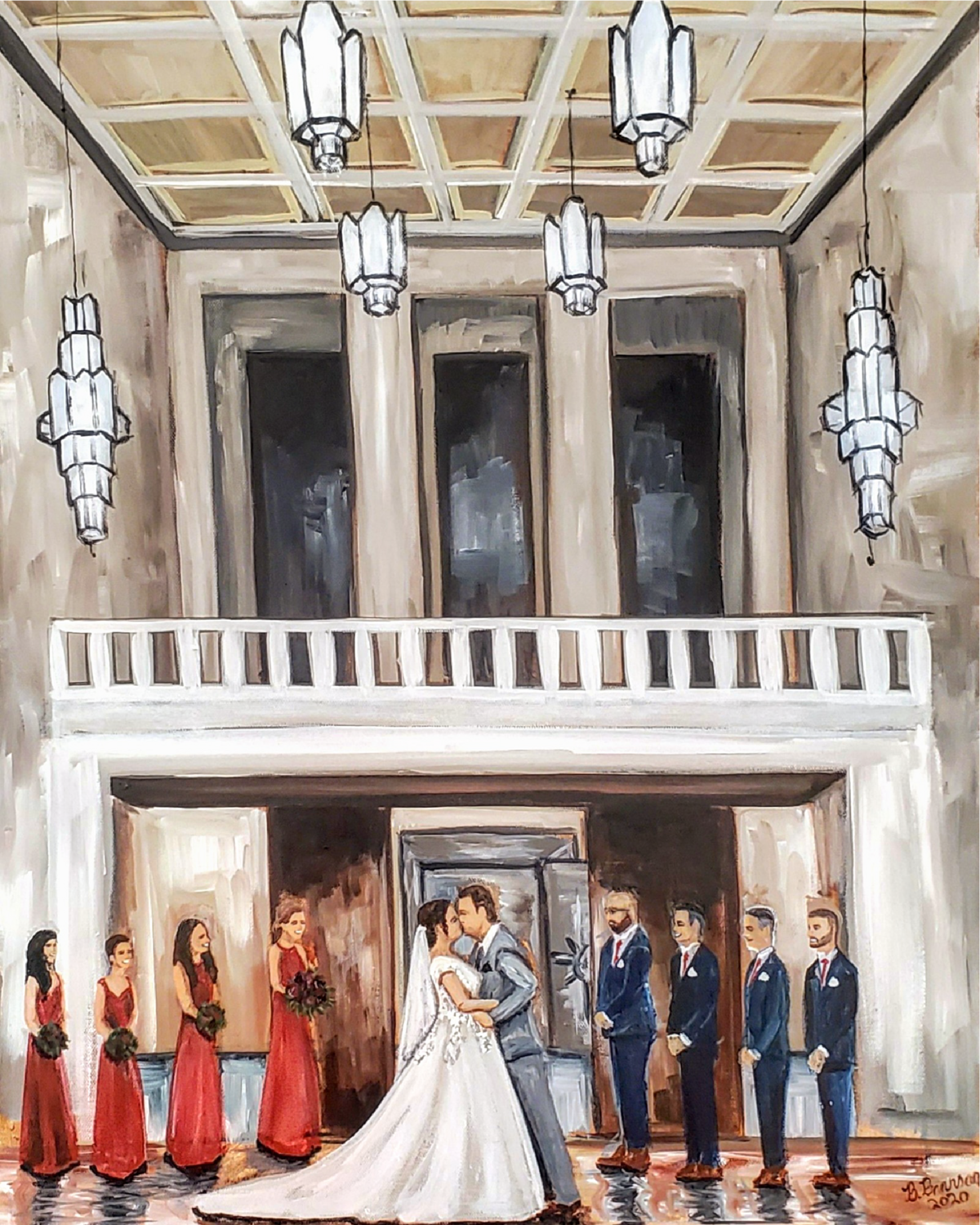 Live wedding painting of a bride and groom's first kiss during their wedding ceremony at the Grande Hall in Dayton Ohio