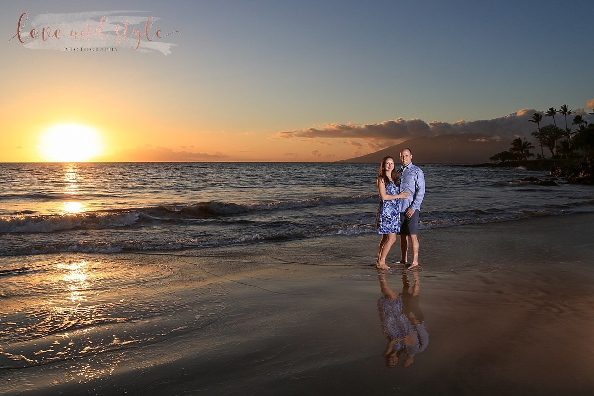 Sarasota-Bradenton Engagement Photo of a couple  at sunset on the beach