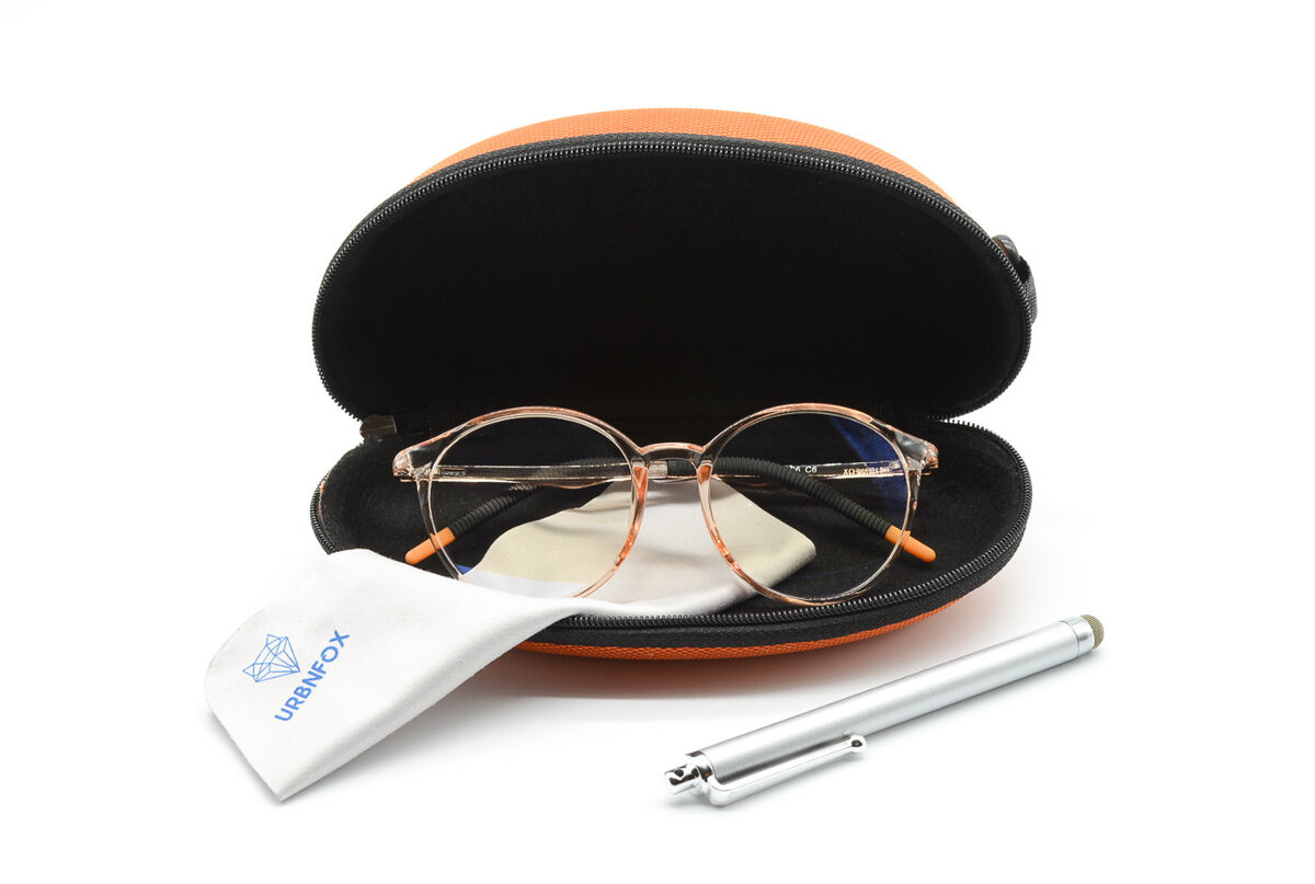 UV blocking glasses with orange frames in a case on white background