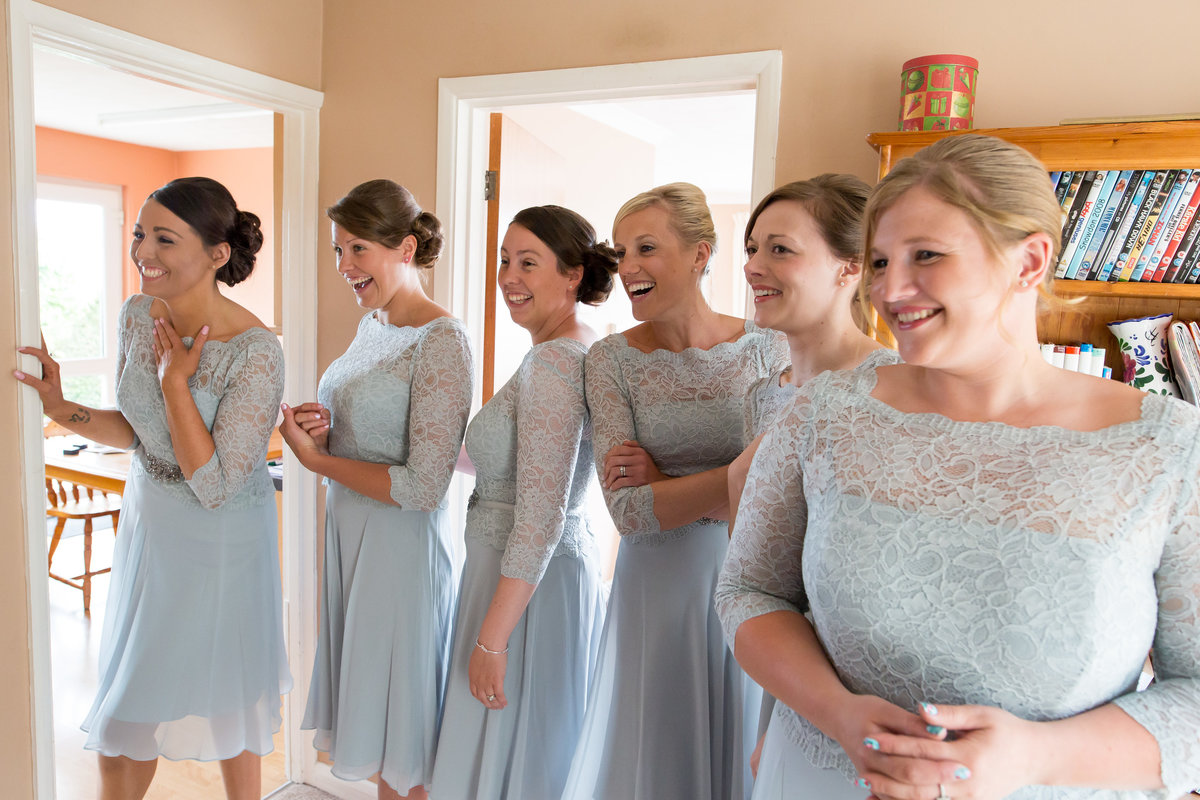 bridesmaids waiting for bride