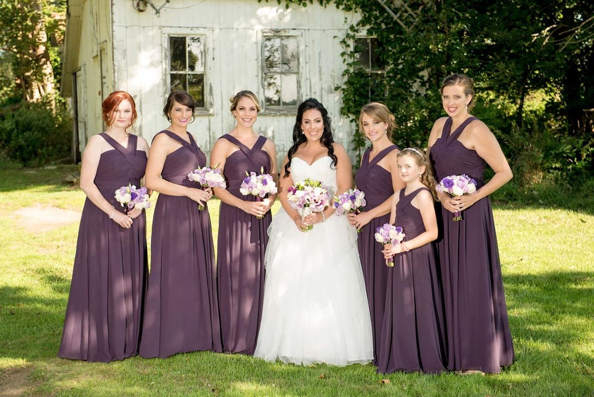 Bridesmaids at the windmill at Giorgio's Baiting Hollow