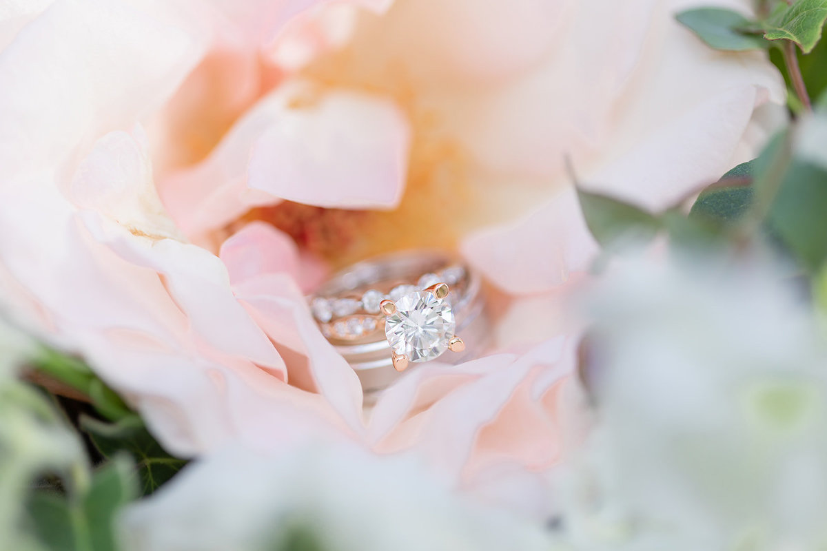 wedding and engagement ring in flower