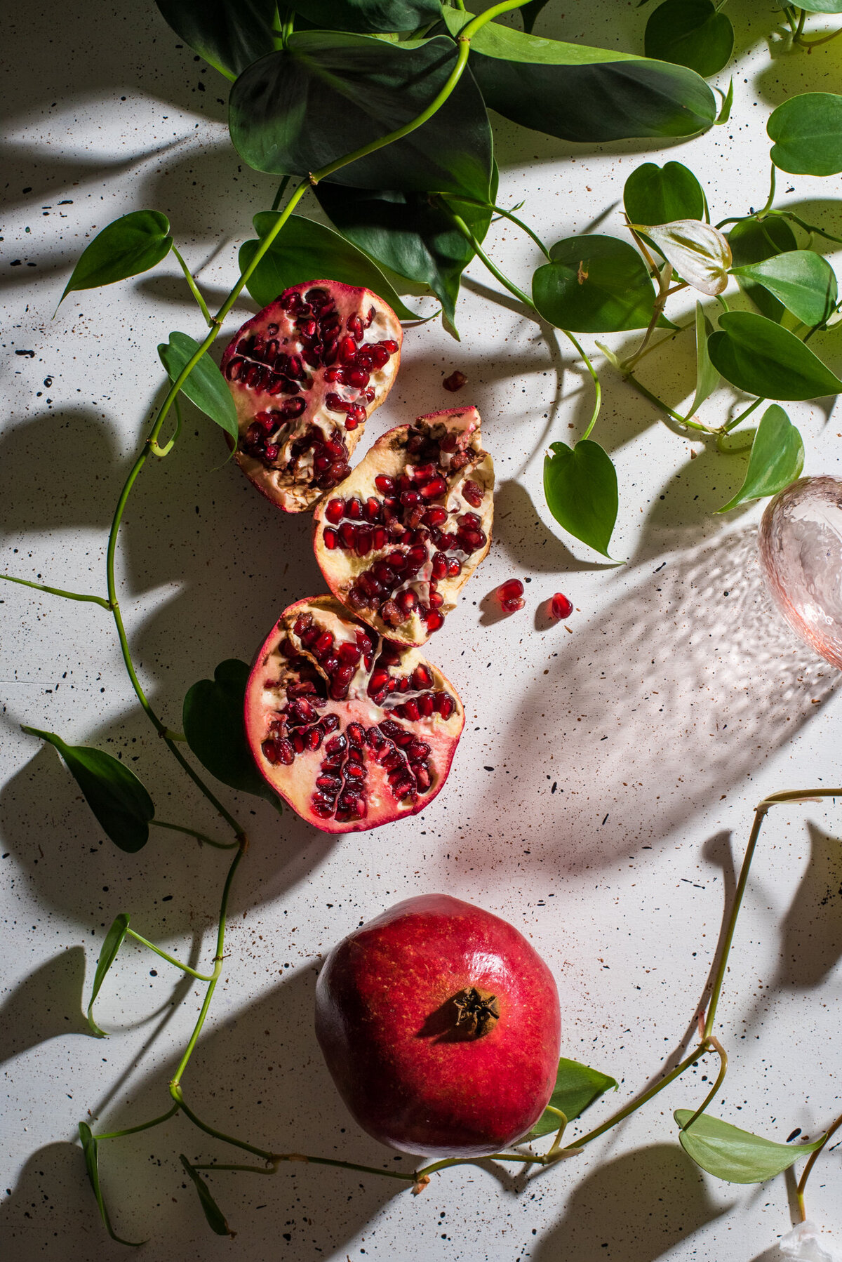 still life photography with pomegranate