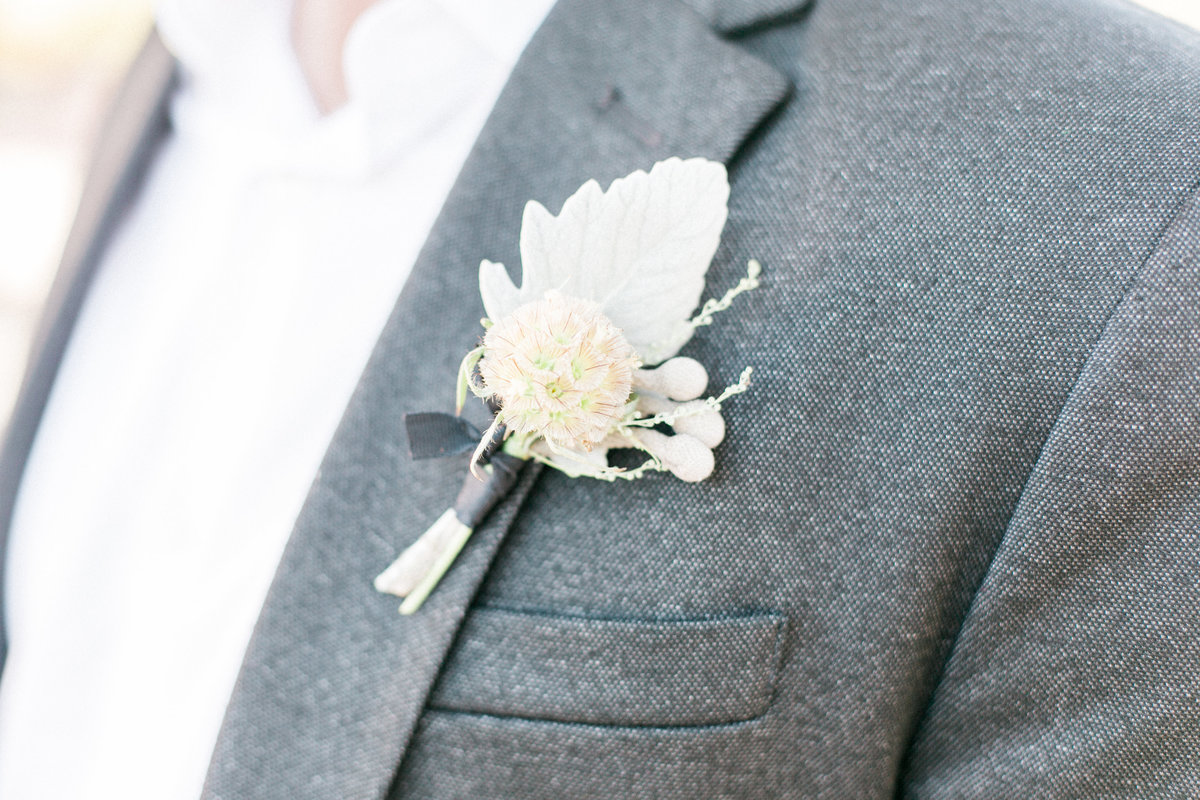 Blush Pink Dusty Miller Boutonniere
