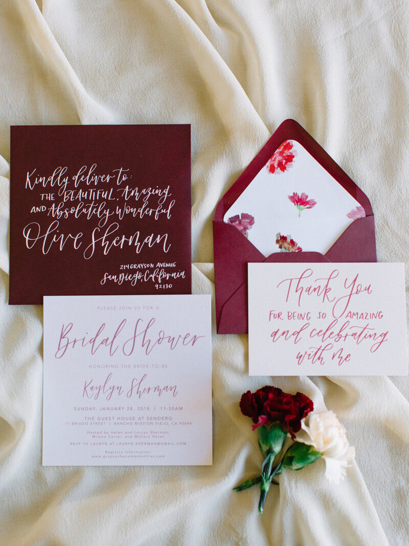 pirouettepaper.com | Wedding Stationery, Signage and Invitations | Pirouette Paper Company | Blush and Burgundy Bridal Shower | Mallory Dawn Photography _