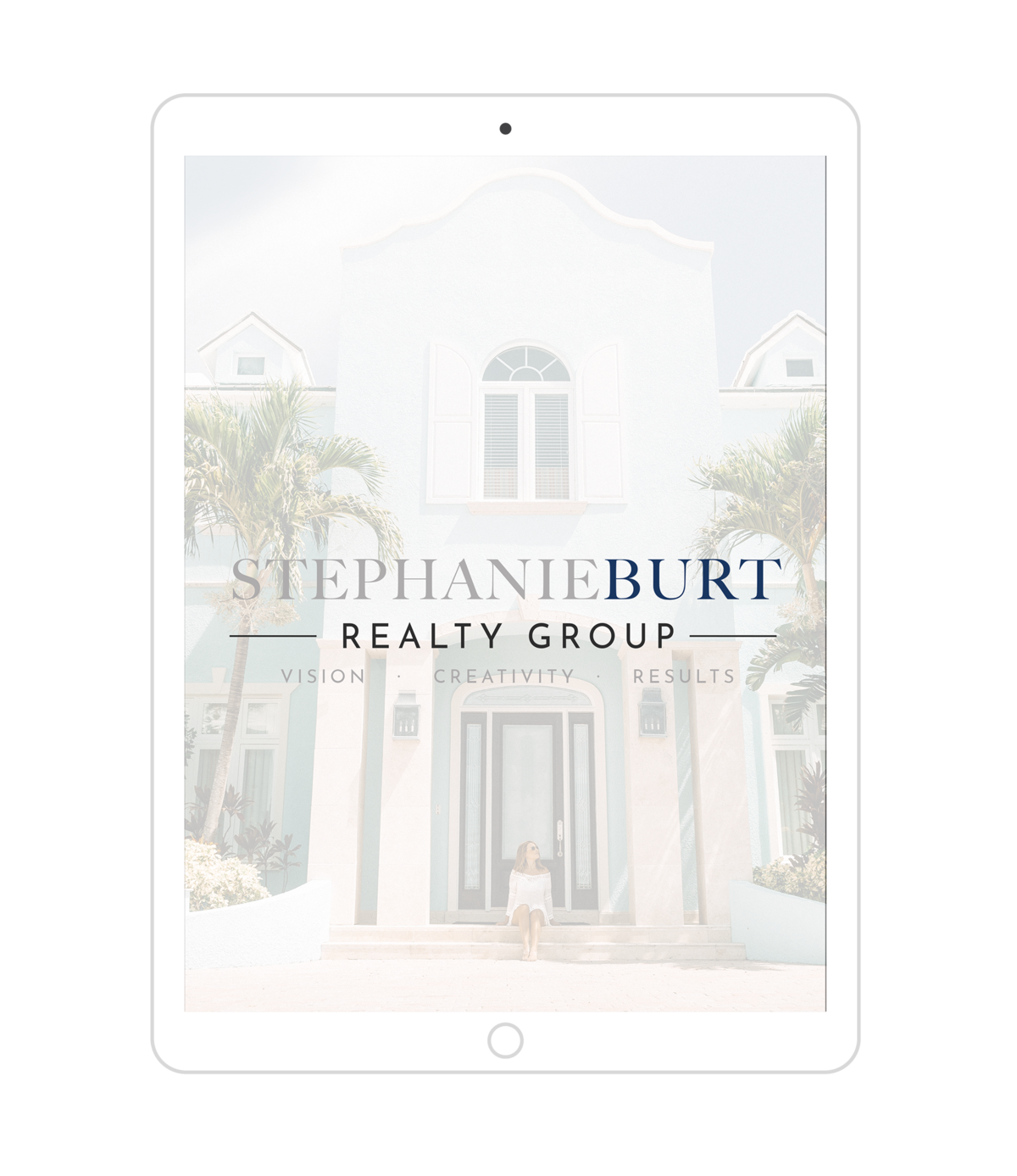 Stephanie Burt Realty Group Logo Design Mockup on iPad Screen
