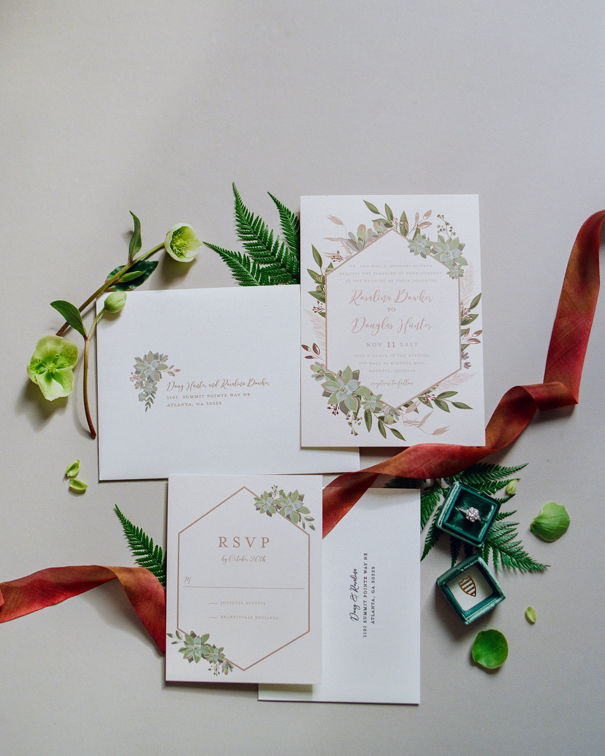 Late Fall Wedding Invitation Suite with Greenery