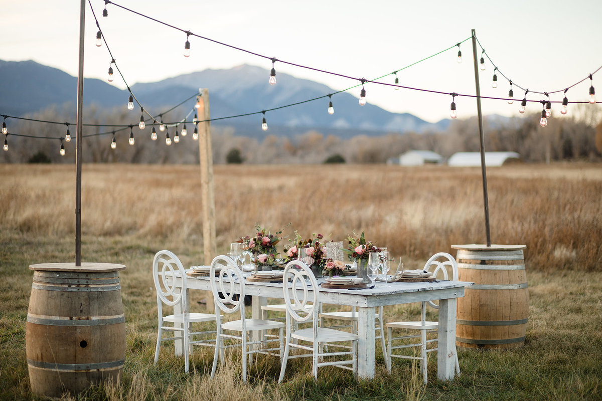 Everett Ranch Rocky Mountain Wedding Outdoor Barn Rustic Salida Colorado Alpaca Collegiate Peaks Vintage Ranch Fish Fine Dining String Lights Barrells Western 004