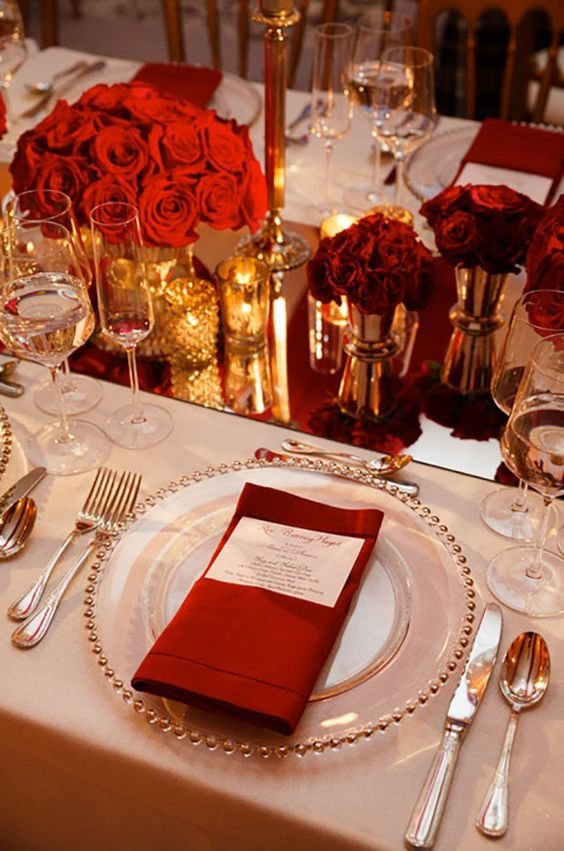 Red, Ivory and Gold Tablescape floral decor