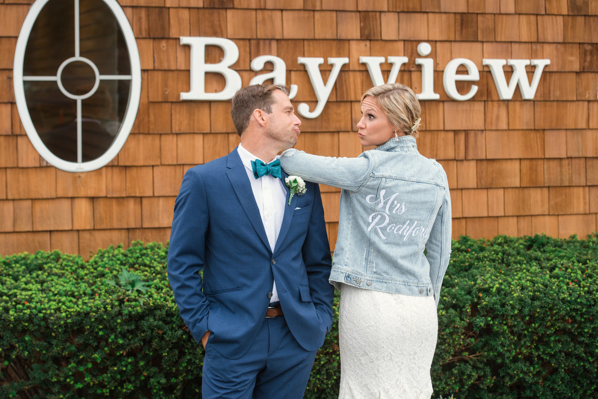 Bride and groom outside Bayview wedding hall
