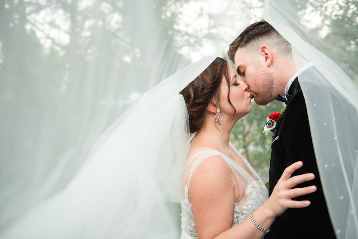 Columbia Winery under veil wedding portrait