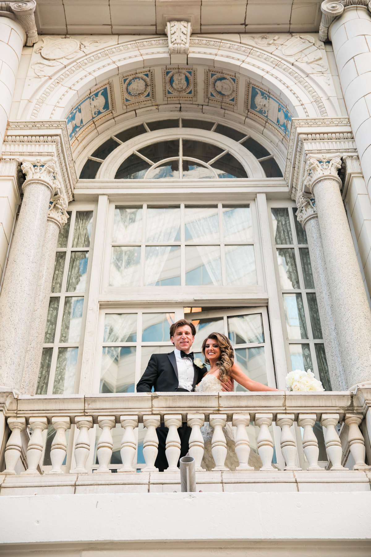 Bride and groom at the Hermitage Hotel in Nashville.