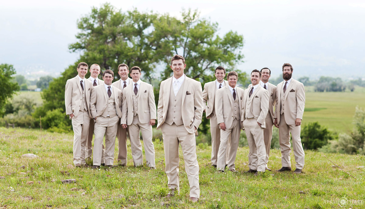 Large wedding party Boulder Colorado Wedding Photography at a Private Farm