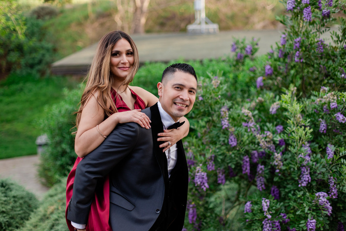 UC Riverside Botanical Gardens, Engagement Photography, Riverside Phototgrapher, Garden Engagement, Couple Photography, Red Dress-99