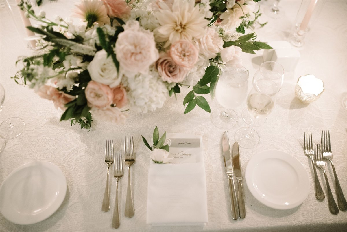 Wedding table place setting for a Cape Cod Wedding by luxury Cape Cod wedding planner and designer Always Yours Events