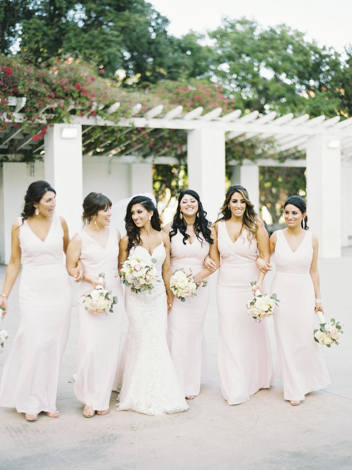 st.petersburg bridesmaids wearing blush dresses
