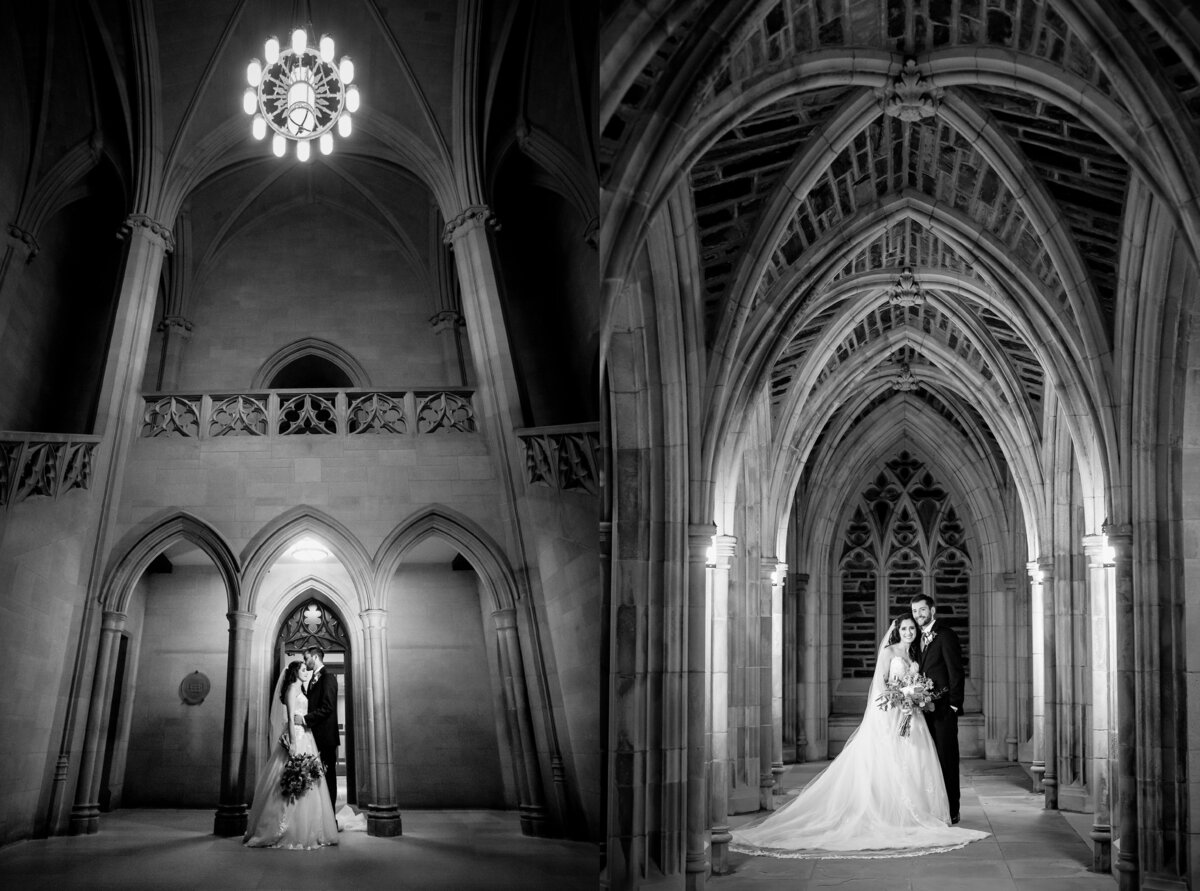 Bride and groom portraits on campus at Duke University