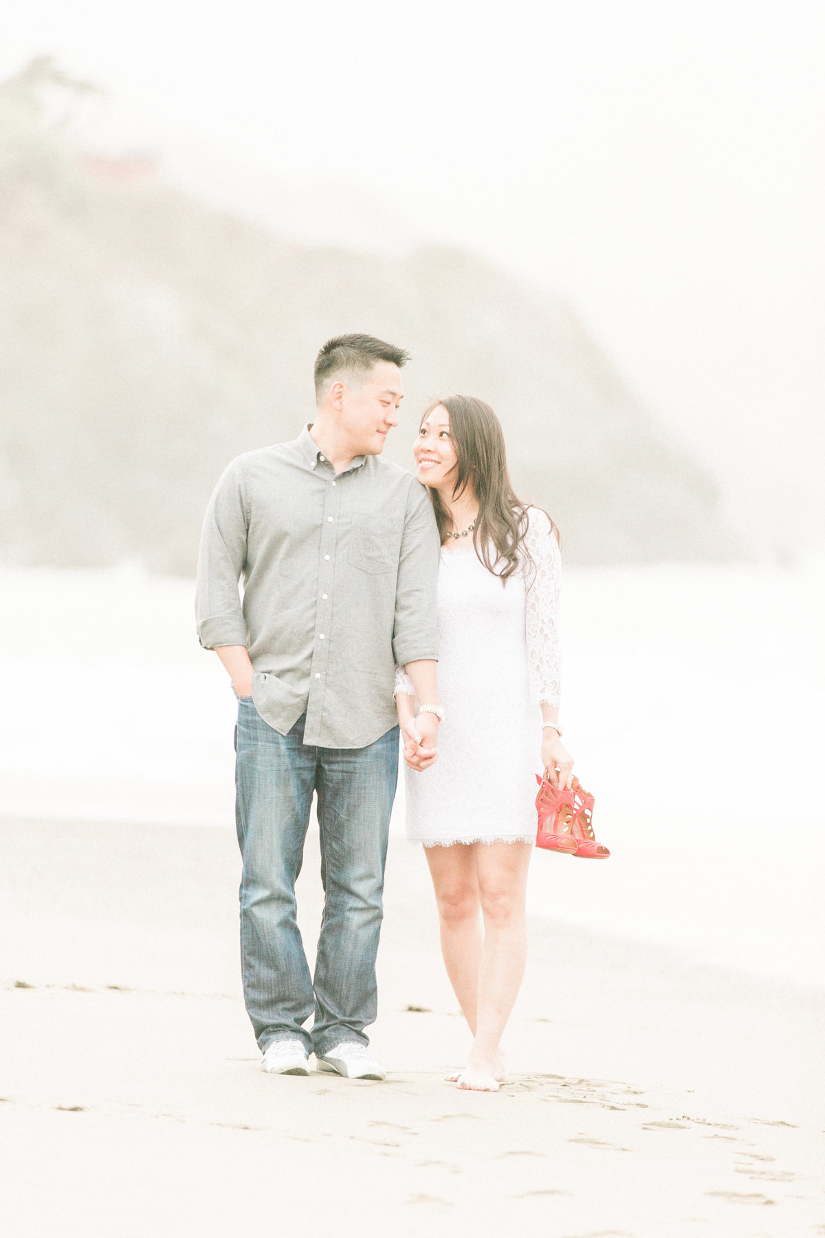 Foggy Beach Engagement Photos Baker Beach