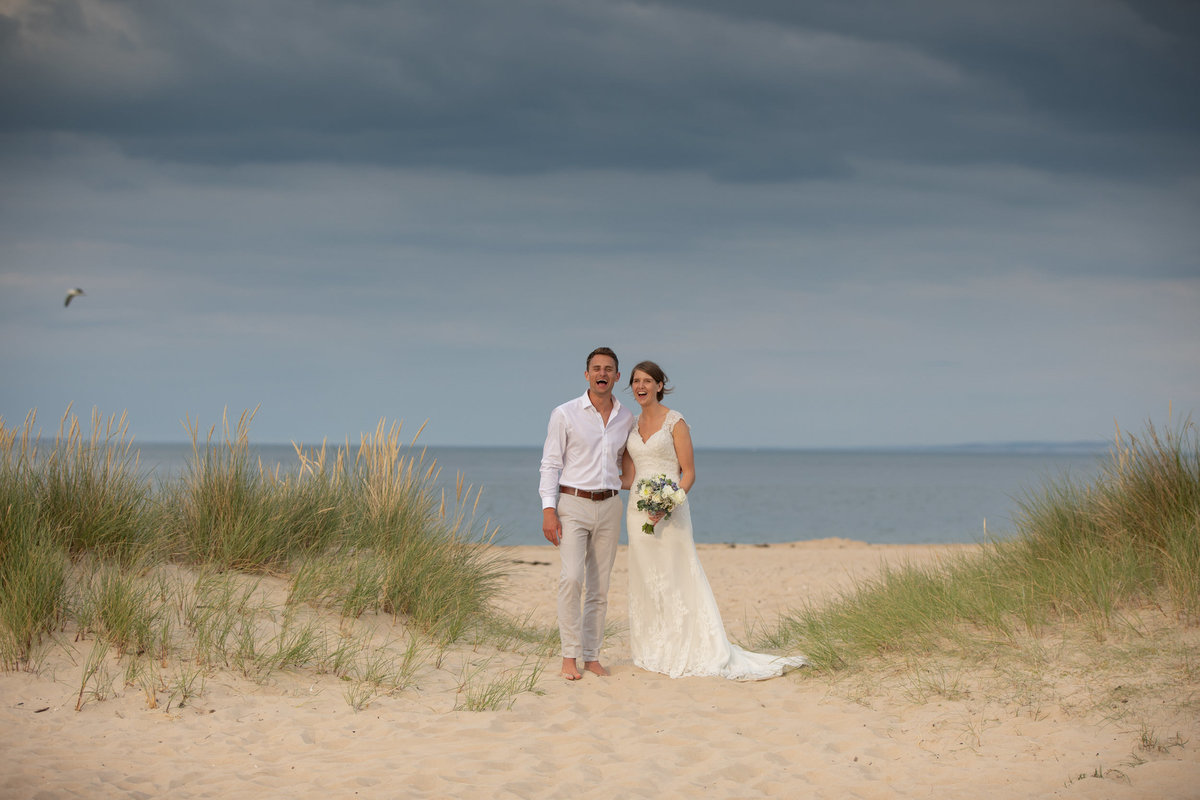 Bride and Groom on the beach at Shell Bay Wedding Dorset_