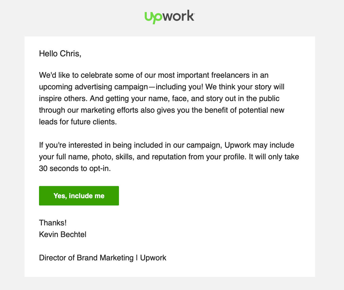 A picture of an email from Upwork
