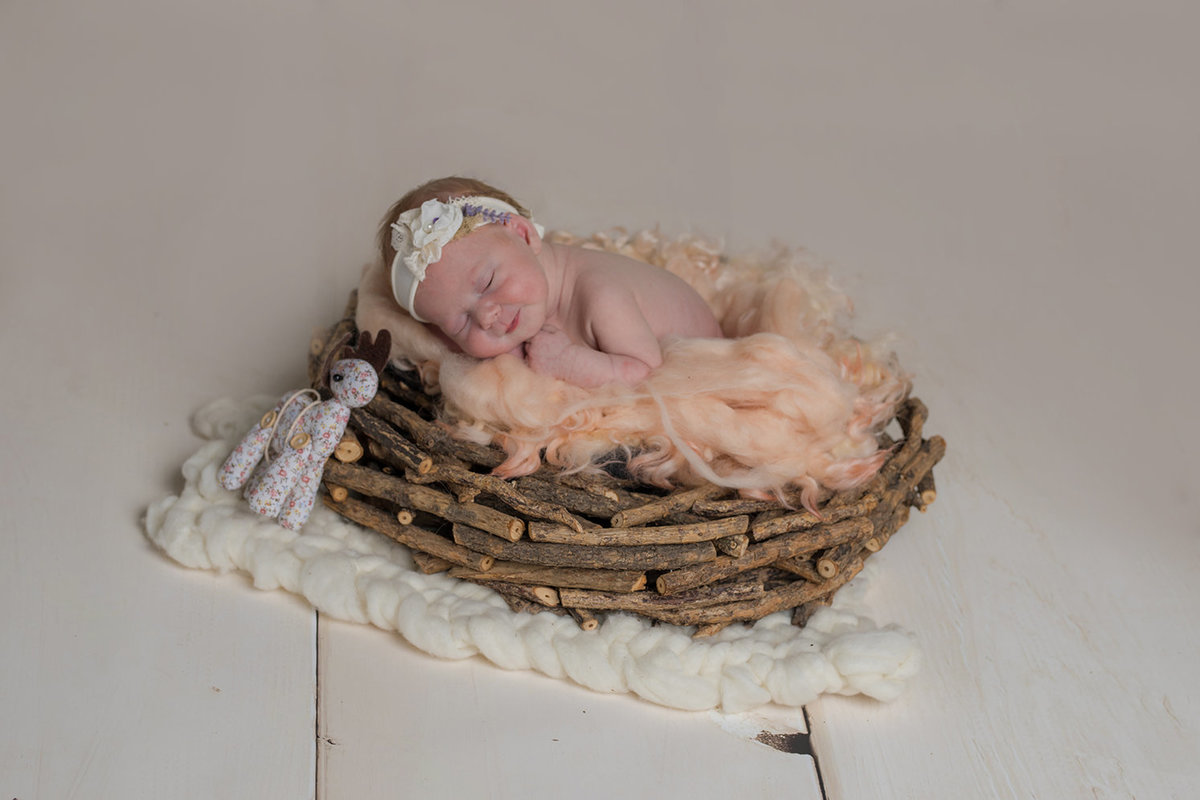 Baby girl in nest basket