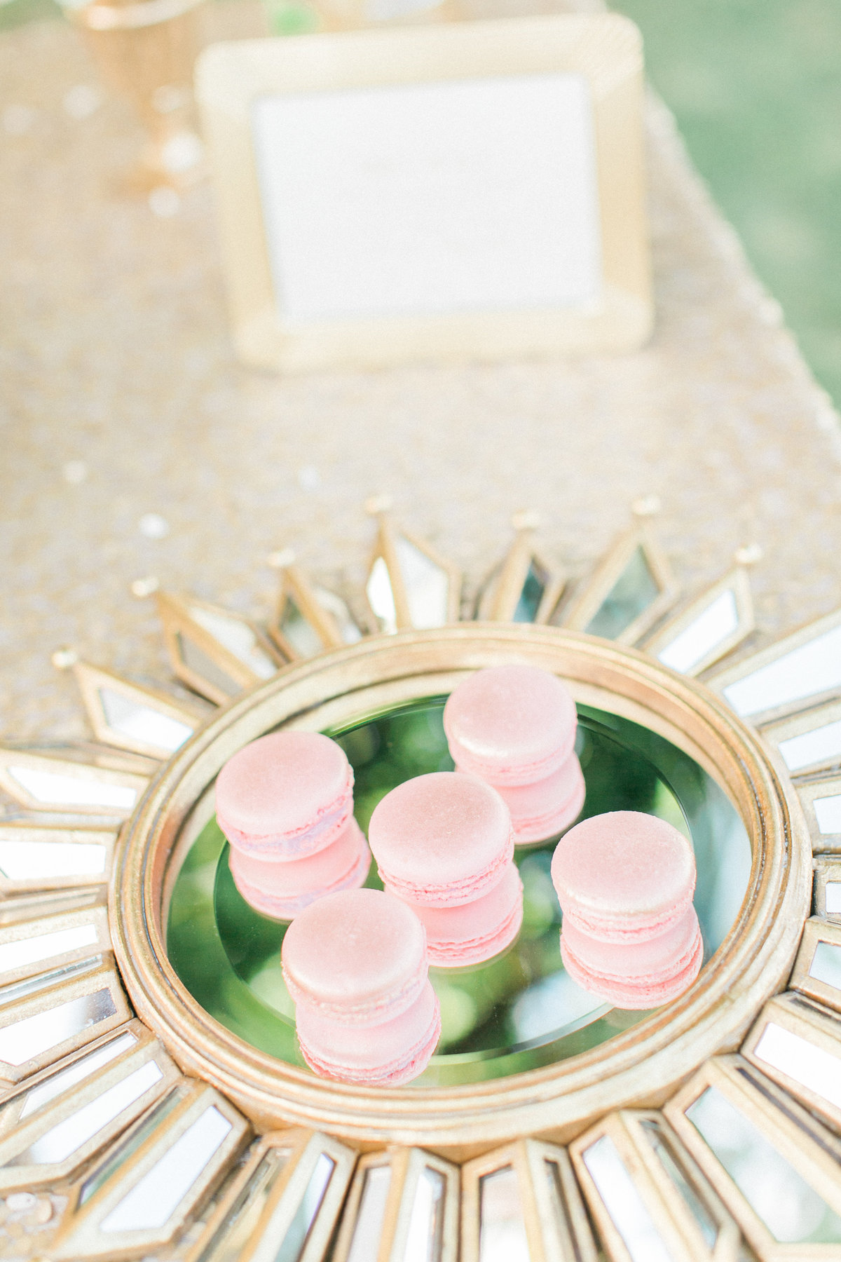 Blush Macarons on Gold Mirror