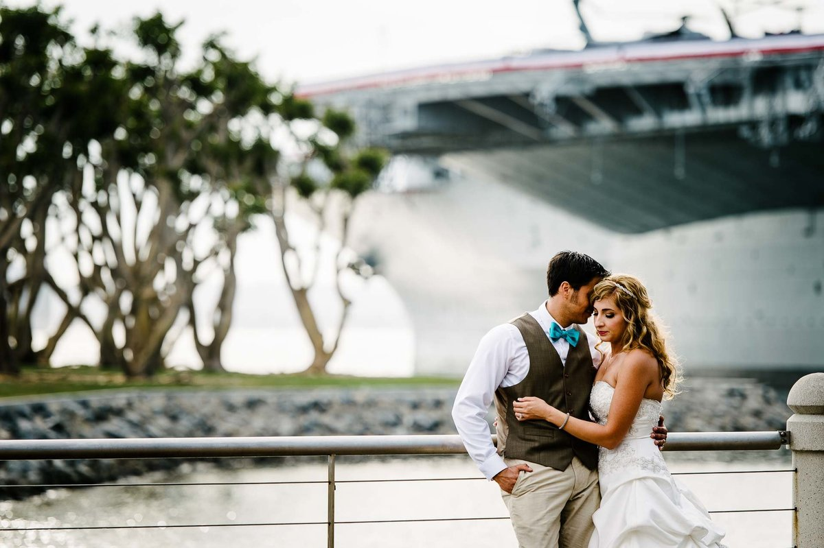 portrait of bride and groom in san diego